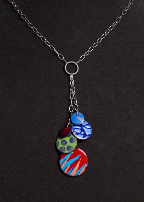Color Circles 2-Sided Enameled Necklace